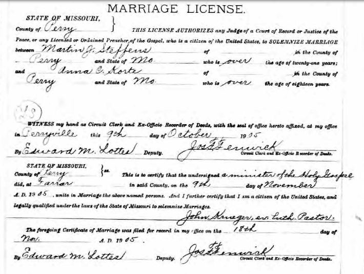 Martin Steffens Anna Korte marriage license