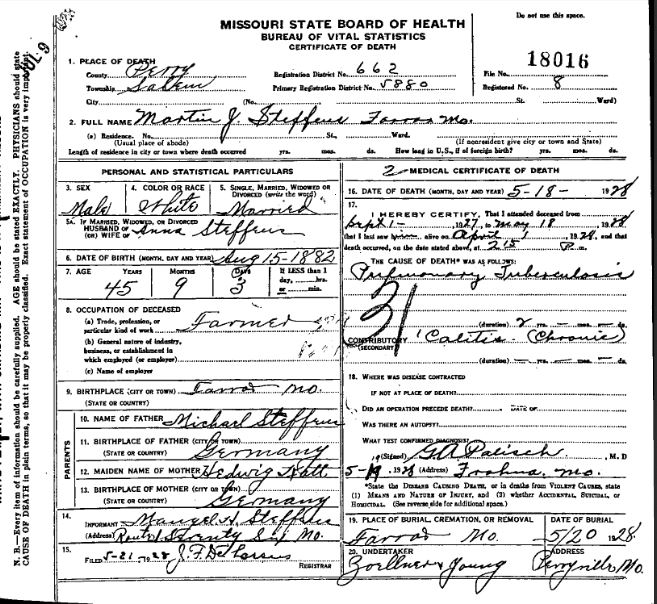 Martin Steffens death certificate