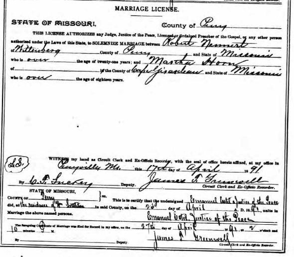 Nennert Horn marriage license