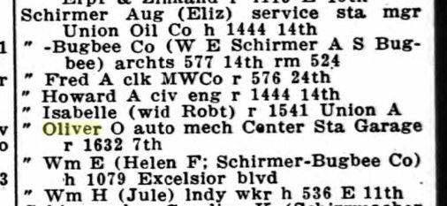 Oliver Schirmer city directory Oakland CA 1924
