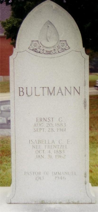 Rev. Ernst Bultmann gravestone