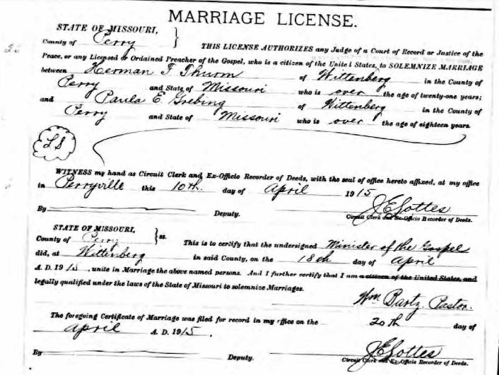 Thurm Grebing marriage license