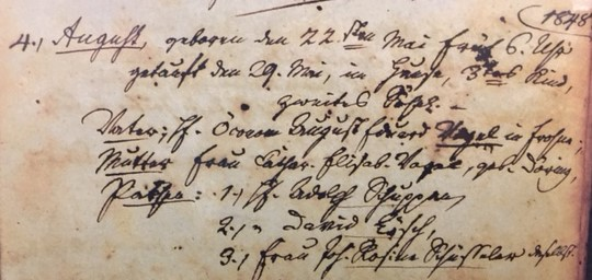 August Vogel baptism record Concordia Frohna