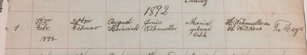 August Wehmueller baptism record Friedheim