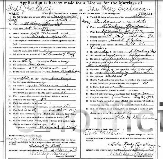 Baatz Buchanan Lueders marriage license