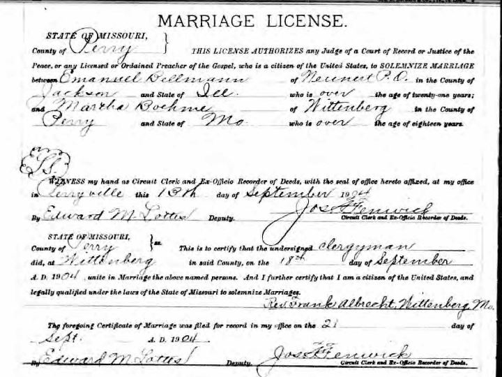 Bellmann Boehme marriage license