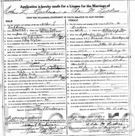 Buchanan Lueders Indiana marriage license