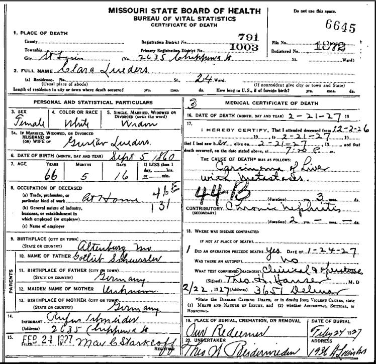 Clara Lueders death certificate