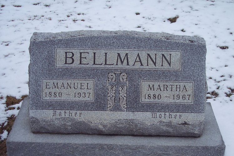 Emanuel and Bertha Bellmann gravestone Jacob IL
