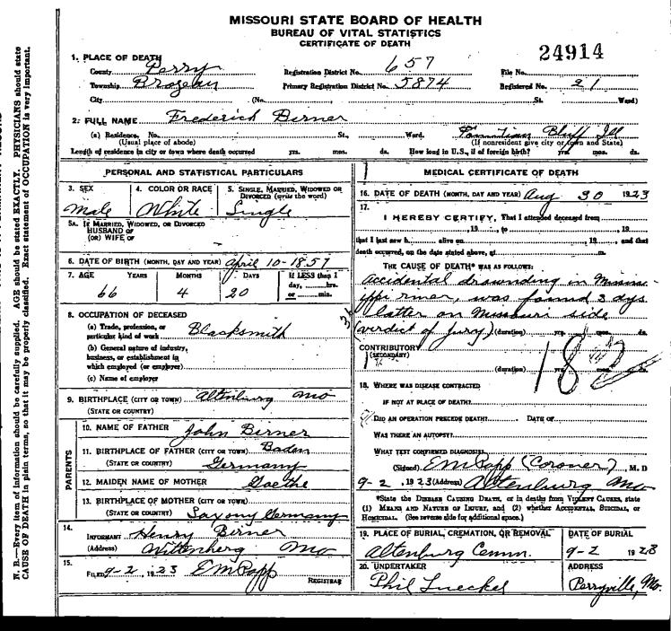 Fred Birner death certificate