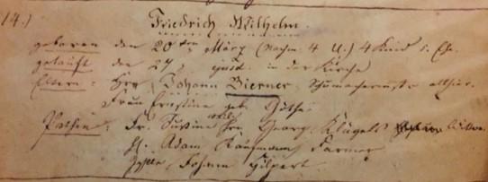 Friedrich Birner baptism record Trinity Altenburg