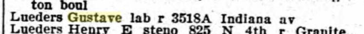 Gustav Lueders 1913 city directory St. Louis
