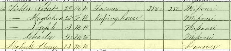 Henry Mahnke 1870 census