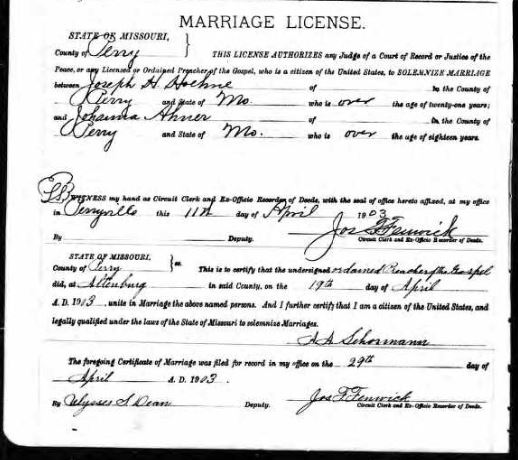 Hoehne Ahner marriage license