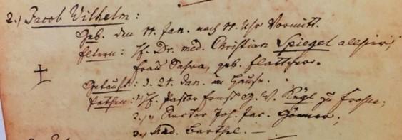 Jacob Wilhelm Spiegal baptism record Trinity Altenburg
