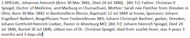 Johann Heinrich Spiegal baptism record GFT