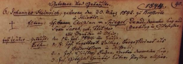 Johann Heinrich Spiegal baptism record Trinity Altenburg
