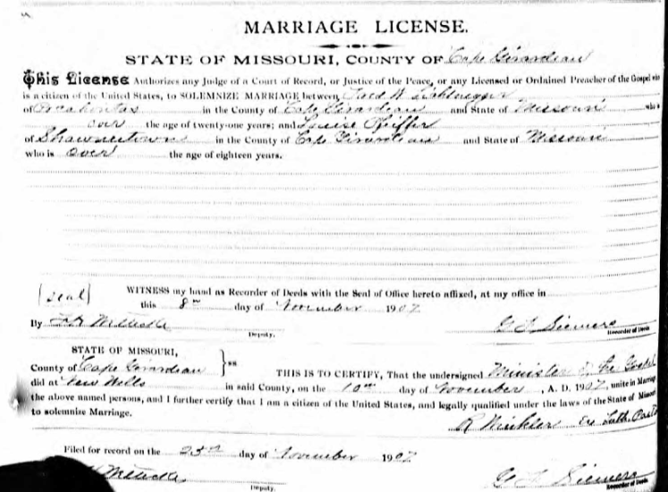 Lichtenegger Pfeiffer marriage license