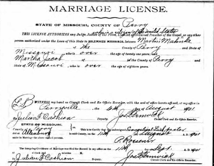 Mahnke Jacob marriage license