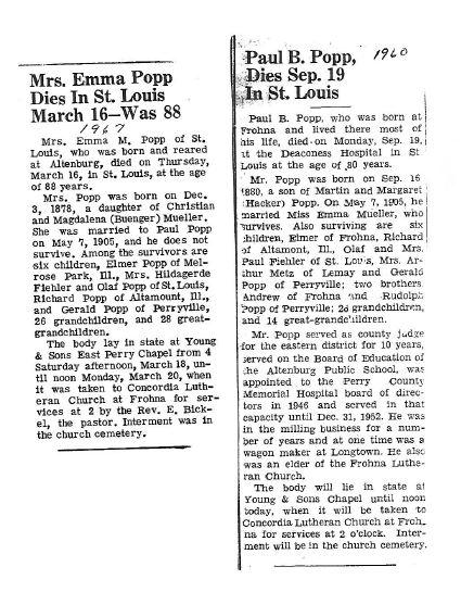 Paul and Emma Popp obits