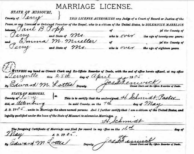 Popp Mueller marriage license