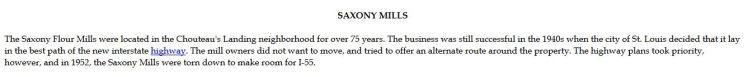 Saxony Mills story