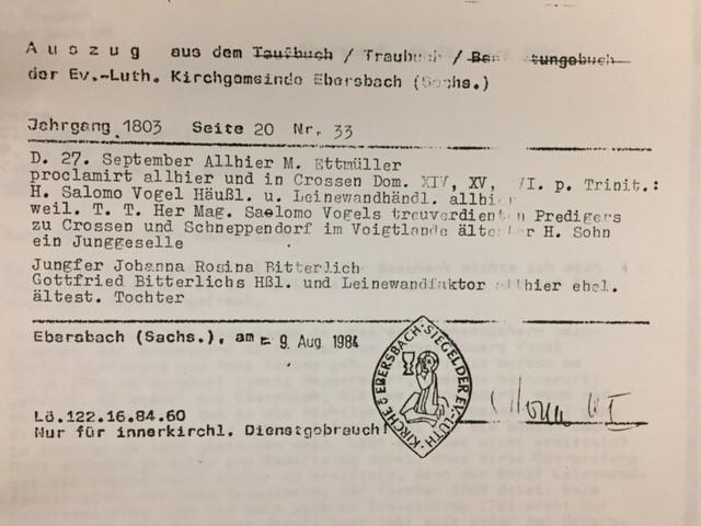 Vogel Bitterlich marriage record Germany
