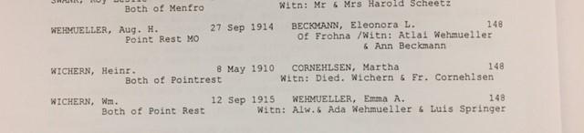 Wehmueller Beckmann marriage record Point Rest
