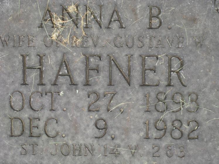 Anna Hafner gravestone Concordia Frohna