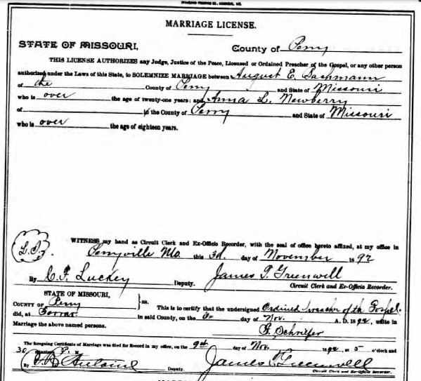 Bachmann Newberry marriage license