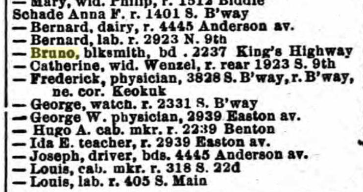 Bruno Schade 1891 directory St. Louis