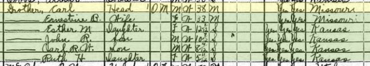 Carl Grother 1920 census
