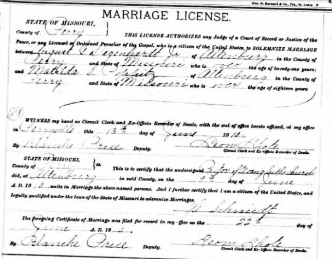 Degenhardt Poppitz marriage license