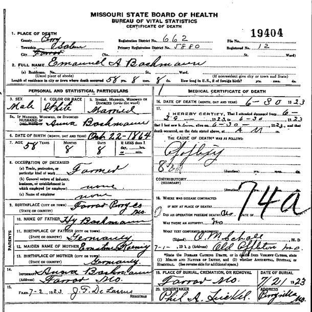 Emanuel Bachmann death certificate
