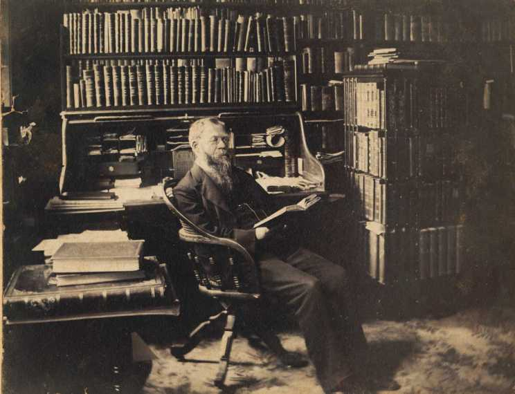 Frederick Stellhorn in library