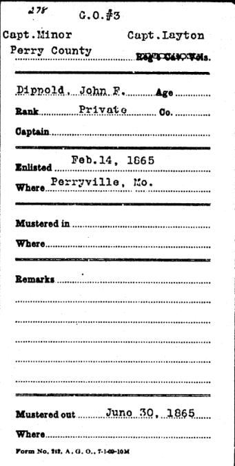 John F. Dippold Civil War record 1
