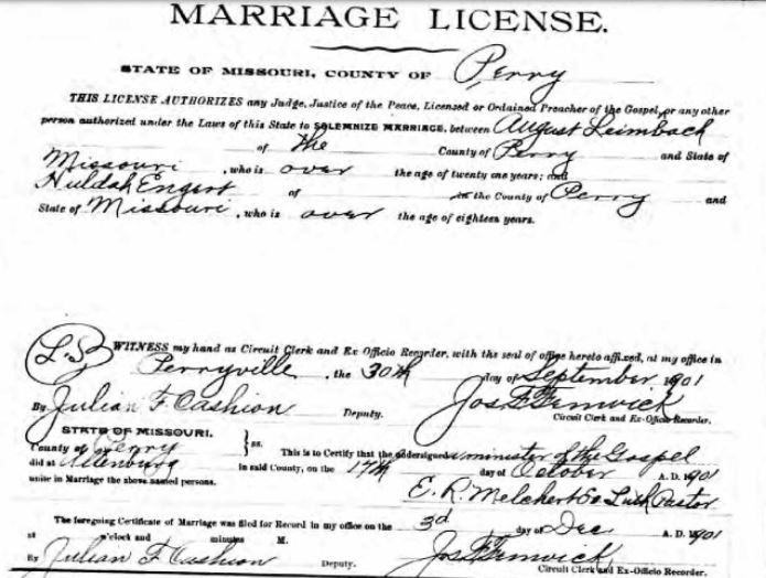 Leimbach Engert marriage license