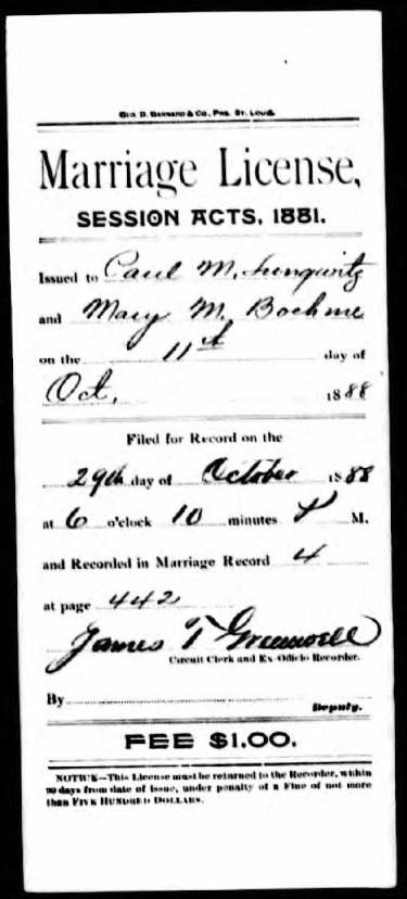 Lungwitz Boehme marriage license