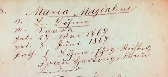 Maria Boehme baptism record Trinity