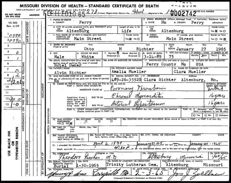 Otto Richter death certificate
