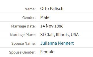 Palisch Nennert marriage record