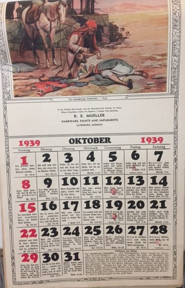 R.E. Mueller Hardware calendar 1939