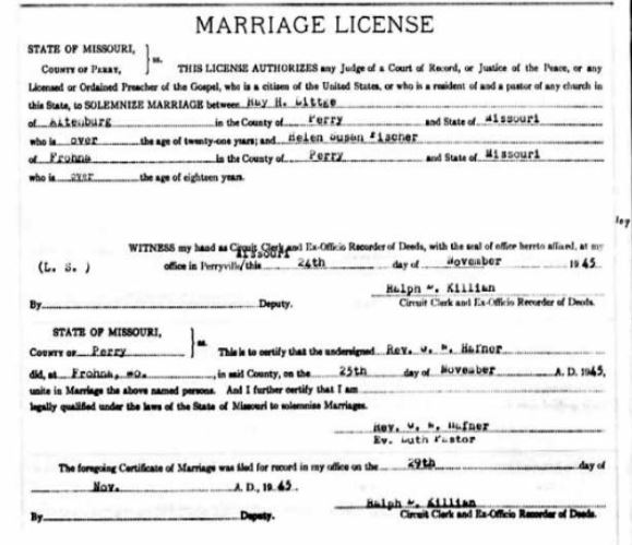 Ray Littge Fischer marriage license