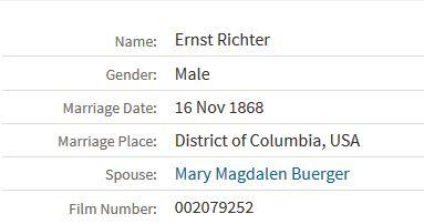 Richter Buerger marriage record Washington, D.C.