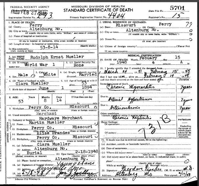 Rudolph Ernst Mueller death certificate