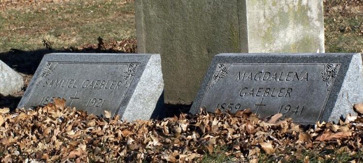 Samuel and Magdalena Gaebler gravestones Concordia St. Louis