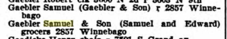 Samuel Gaebler 1909 city directory St. Louis