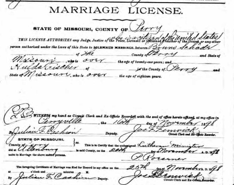 Schade Fischer marriage license