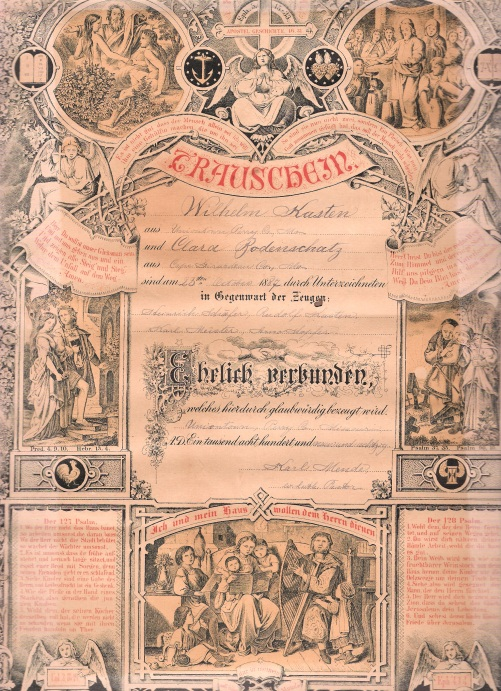 Wilhelm and Clara Kasten Wedding Cert.