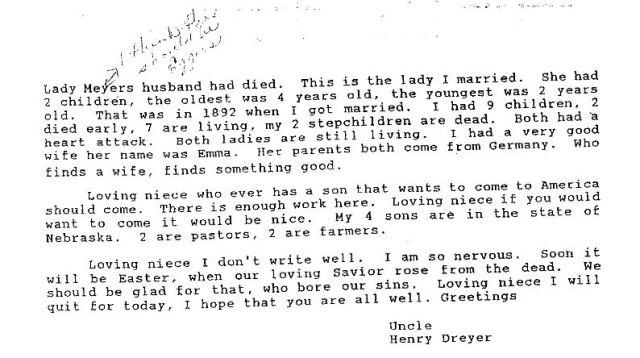 13. Henry Dreyer Letter - Page 2